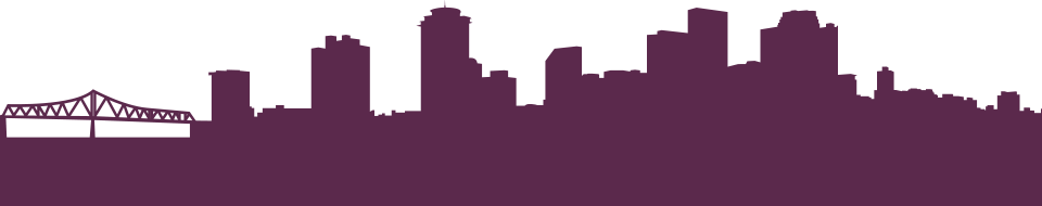 illustration of New Orleans skyline in purple