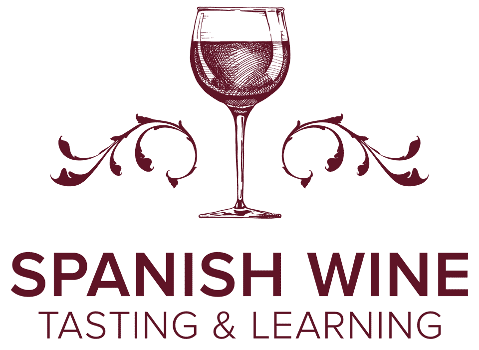 Illustration of a glass of red wine with decorative flourishes, followed by the text Spanish Wine Tasting and Learning